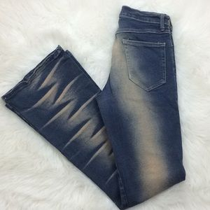 Bebe Mustaches stretch boot cut distressed jeans